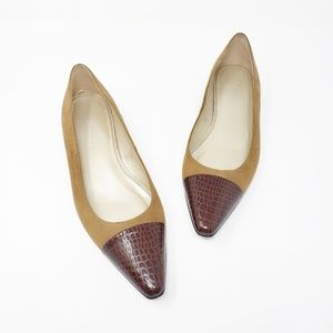 Talbots Leather Spain Cap Toe Pointed Flats